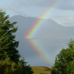 Rainbow reflected on Loch Broom